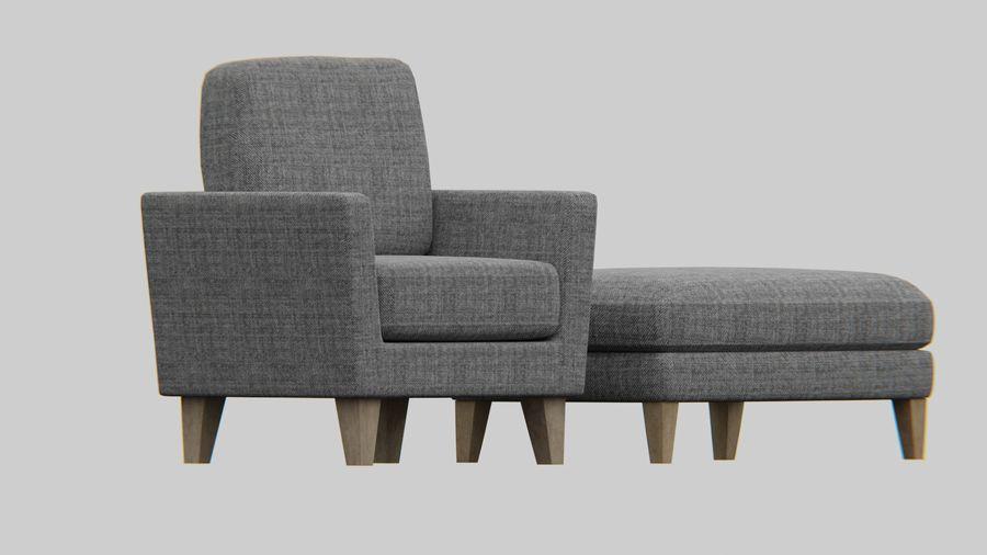 Conjunto de muebles de sofá y otomana royalty-free modelo 3d - Preview no. 5