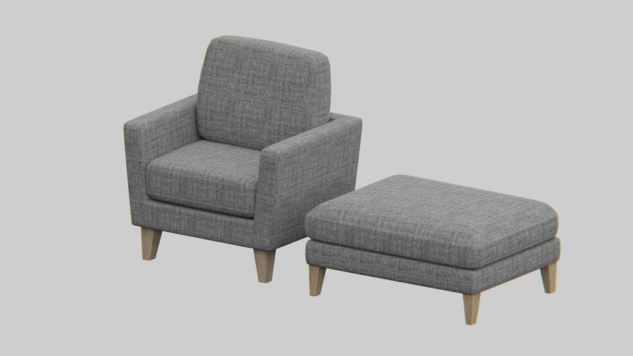 Conjunto de muebles de sofá y otomana royalty-free modelo 3d - Preview no. 2
