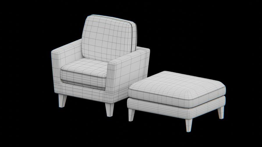 Conjunto de muebles de sofá y otomana royalty-free modelo 3d - Preview no. 8