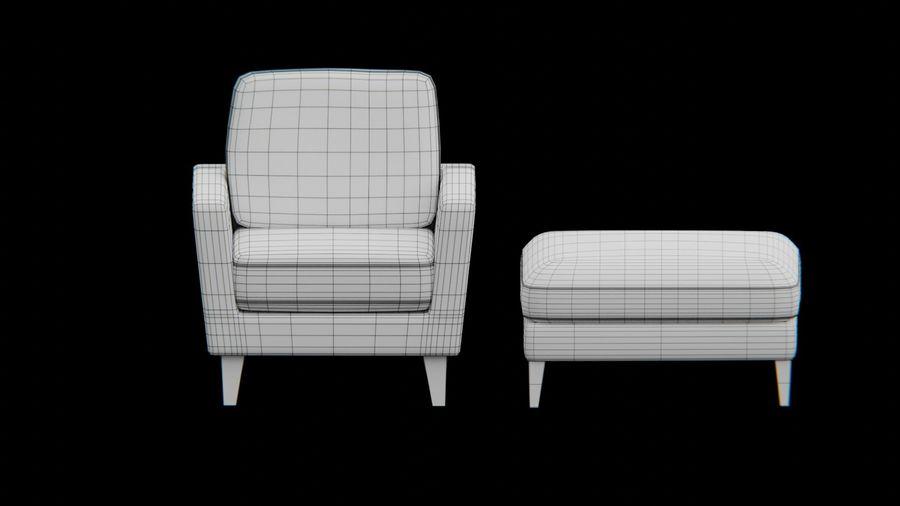Conjunto de muebles de sofá y otomana royalty-free modelo 3d - Preview no. 7