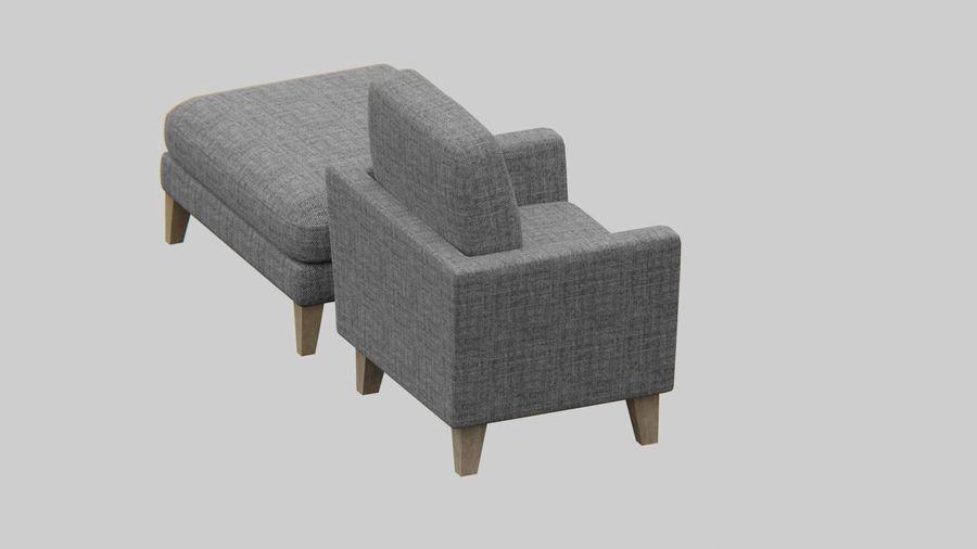 Conjunto de muebles de sofá y otomana royalty-free modelo 3d - Preview no. 6