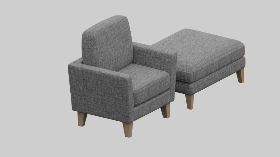Conjunto de muebles de sofá y otomana royalty-free modelo 3d - Preview no. 4