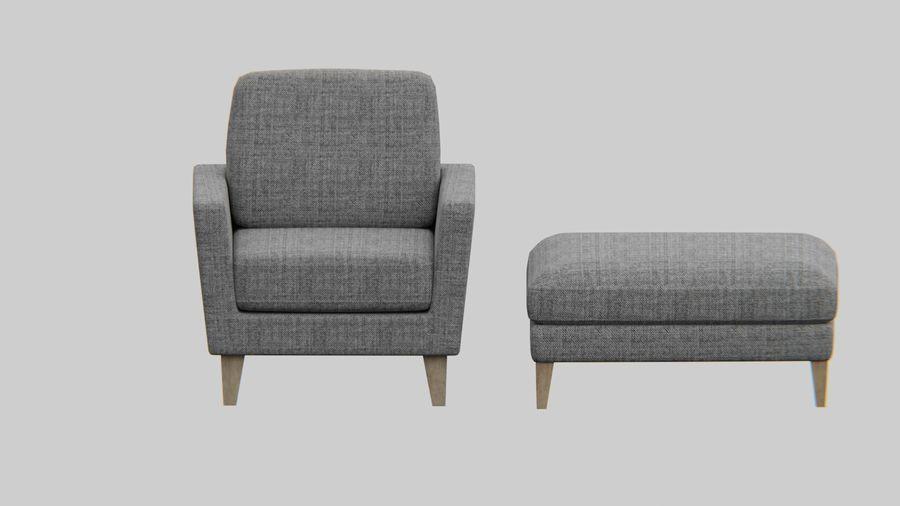 Conjunto de muebles de sofá y otomana royalty-free modelo 3d - Preview no. 1