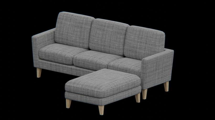 Conjunto de muebles de sofá y otomana royalty-free modelo 3d - Preview no. 2