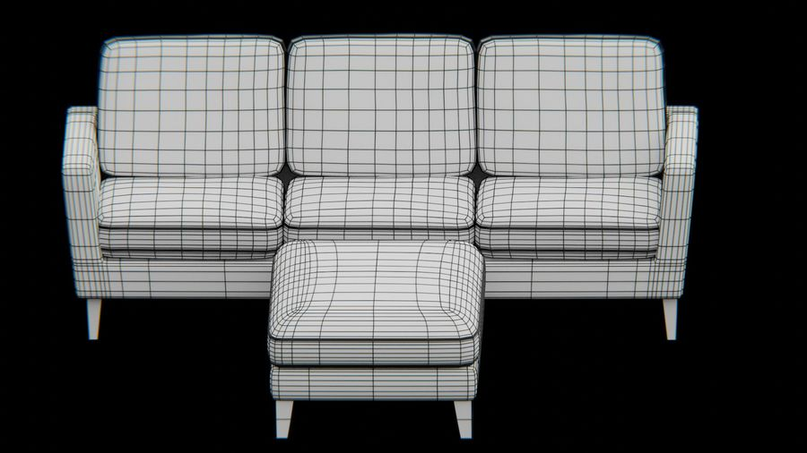 Conjunto de muebles de sofá y otomana royalty-free modelo 3d - Preview no. 7