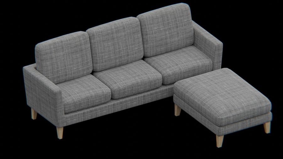 Conjunto de muebles de sofá y otomana royalty-free modelo 3d - Preview no. 3