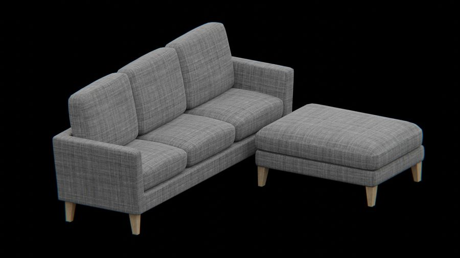 Conjunto de muebles de sofá y otomana royalty-free modelo 3d - Preview no. 6