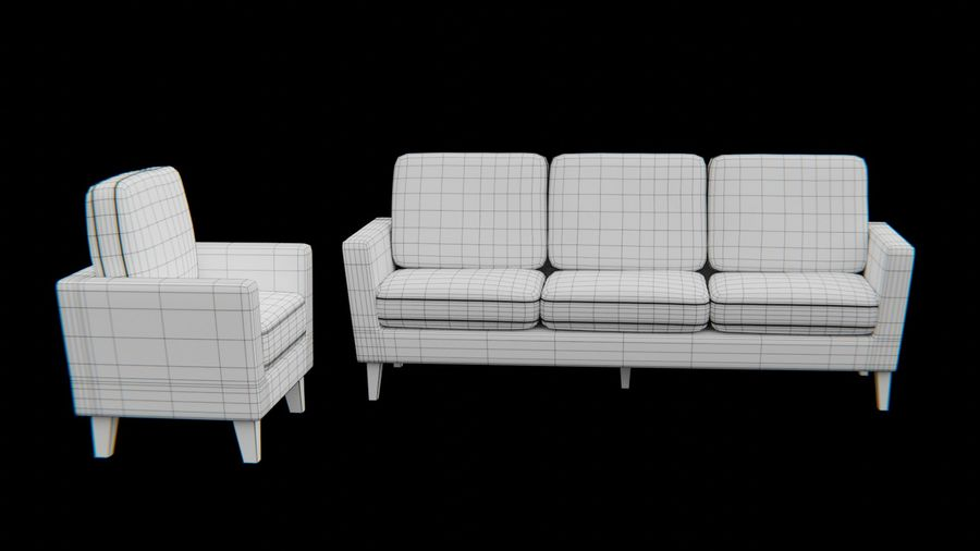 Set di divani-mobili royalty-free 3d model - Preview no. 8