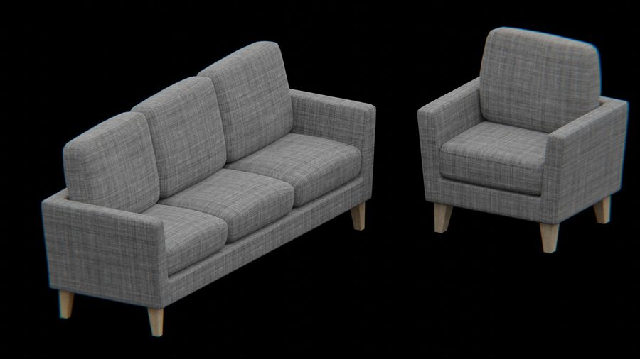 Möbler set-soffa royalty-free 3d model - Preview no. 2