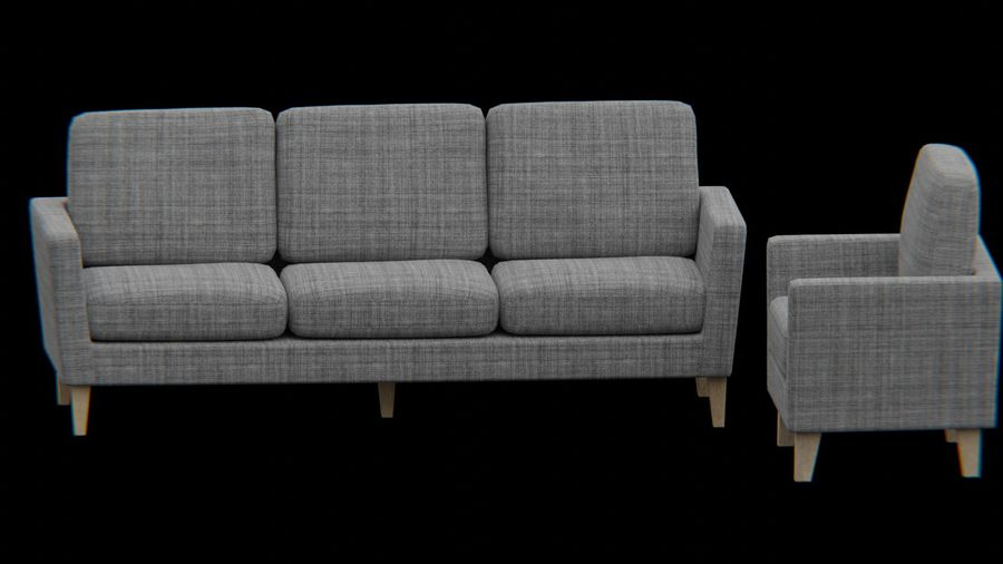 Möbler set-soffa royalty-free 3d model - Preview no. 5