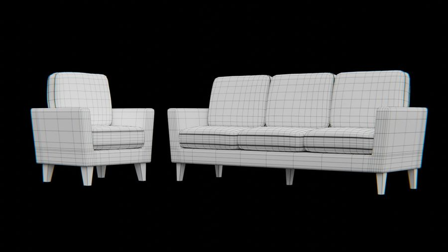 Möbler set-soffa royalty-free 3d model - Preview no. 7