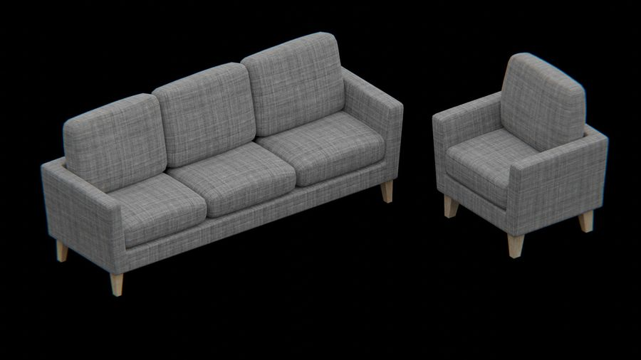 Möbler set-soffa royalty-free 3d model - Preview no. 4
