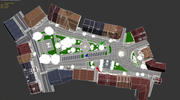 Small city Market Square 3d model