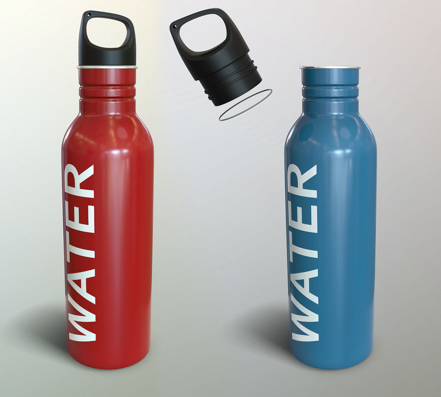 Metal Bottle Water royalty-free 3d model - Preview no. 1