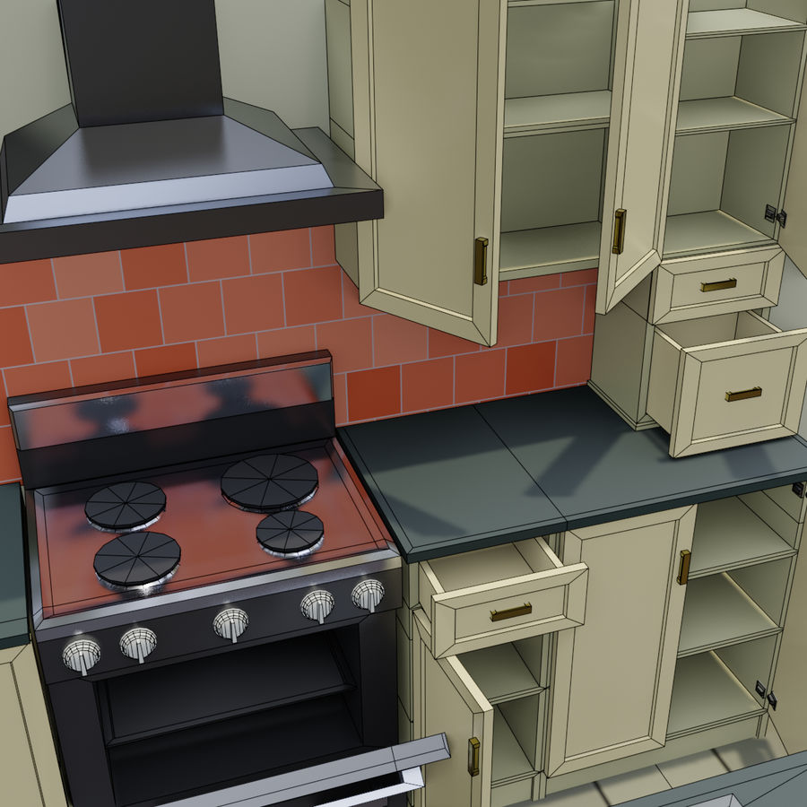 Cartoon Kitchen royalty-free 3d model - Preview no. 1