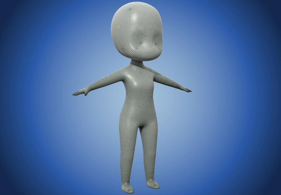 Malla Base Chibi royalty-free modelo 3d - Preview no. 7