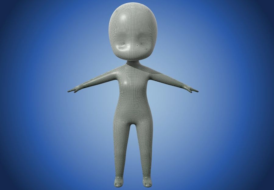 Malla Base Chibi royalty-free modelo 3d - Preview no. 6