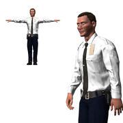 Spelklart karaktär - Animerad polis 3d model