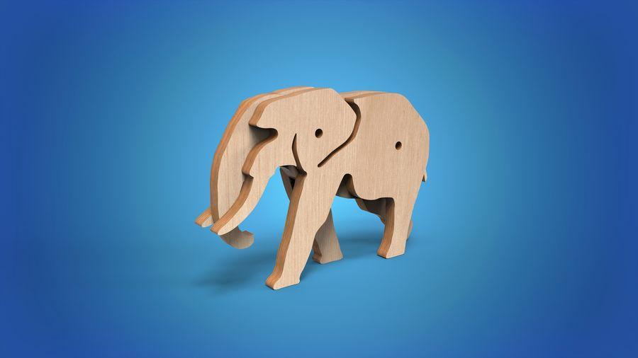 Drewniany słoń zabawka zwierzę royalty-free 3d model - Preview no. 1