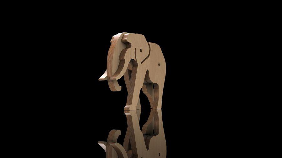 Drewniany słoń zabawka zwierzę royalty-free 3d model - Preview no. 4