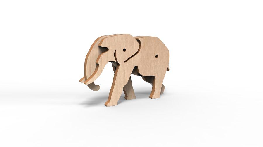 Drewniany słoń zabawka zwierzę royalty-free 3d model - Preview no. 10