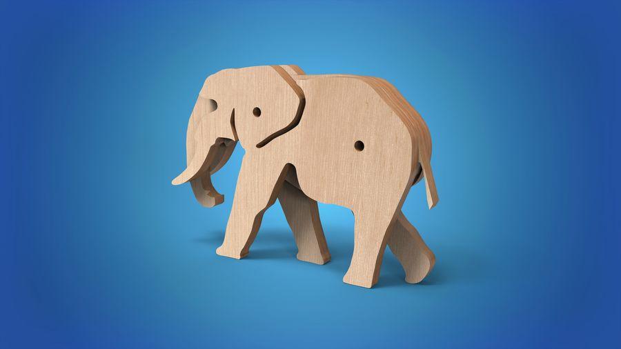 Drewniany słoń zabawka zwierzę royalty-free 3d model - Preview no. 2