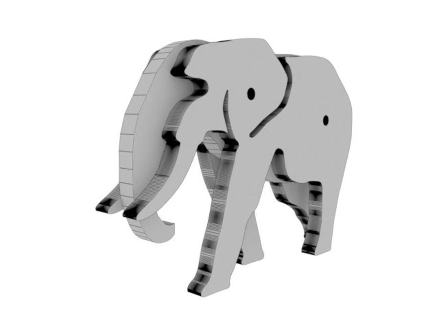 Drewniany słoń zabawka zwierzę royalty-free 3d model - Preview no. 11