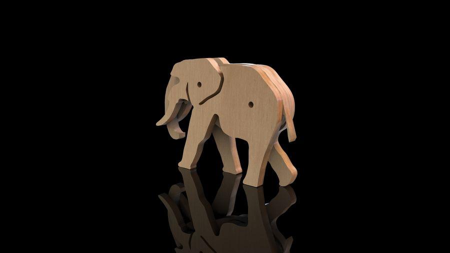 Drewniany słoń zabawka zwierzę royalty-free 3d model - Preview no. 6