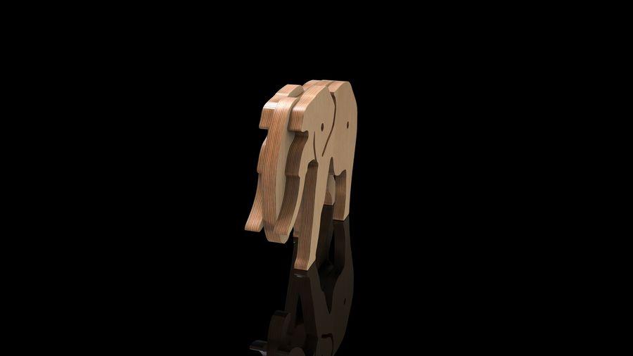 Drewniany słoń zabawka zwierzę royalty-free 3d model - Preview no. 5