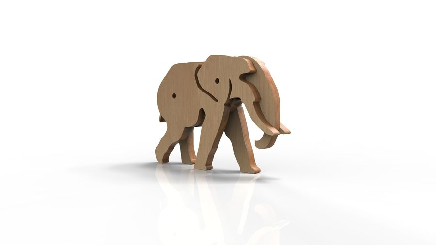 Drewniany słoń zabawka zwierzę royalty-free 3d model - Preview no. 8