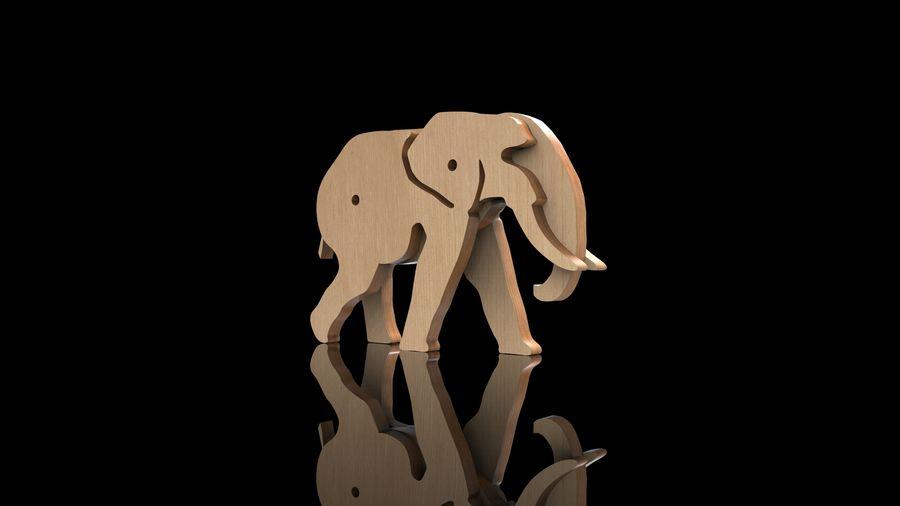 Drewniany słoń zabawka zwierzę royalty-free 3d model - Preview no. 3