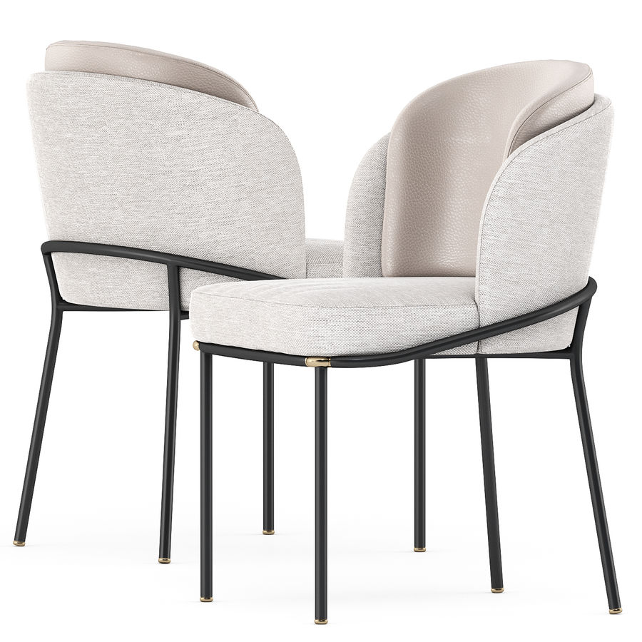 FIL NOIR chair and LOU Dining Table royalty-free 3d model - Preview no. 1