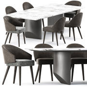 Lawson Dining Chair och Wedge Dining Table 3d model