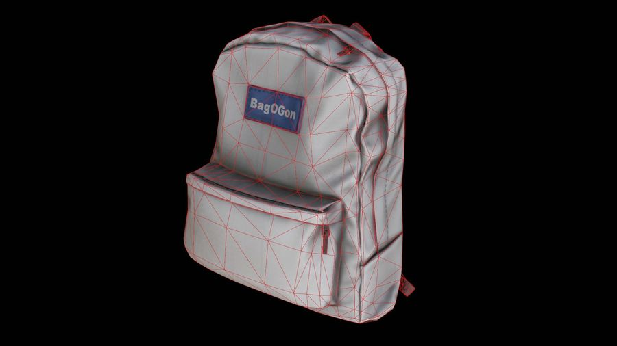 School Backpack - CLA - PBR Game Ready royalty-free 3d model - Preview no. 3