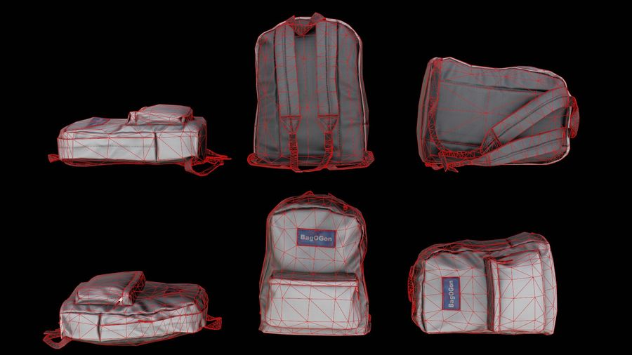 School Backpack - CLA - PBR Game Ready royalty-free 3d model - Preview no. 5