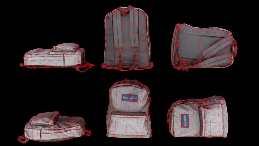 School Backpack - CLA - PBR Game Ready royalty-free 3d model - Preview no. 1