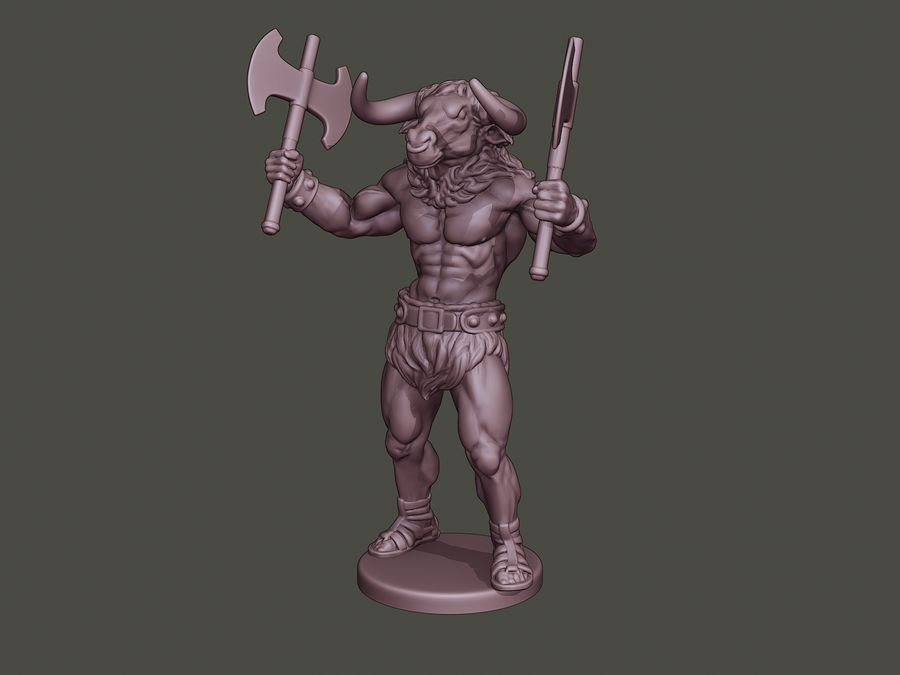 Minotaur Warrior Stand4 two Axes royalty-free 3d model - Preview no. 1