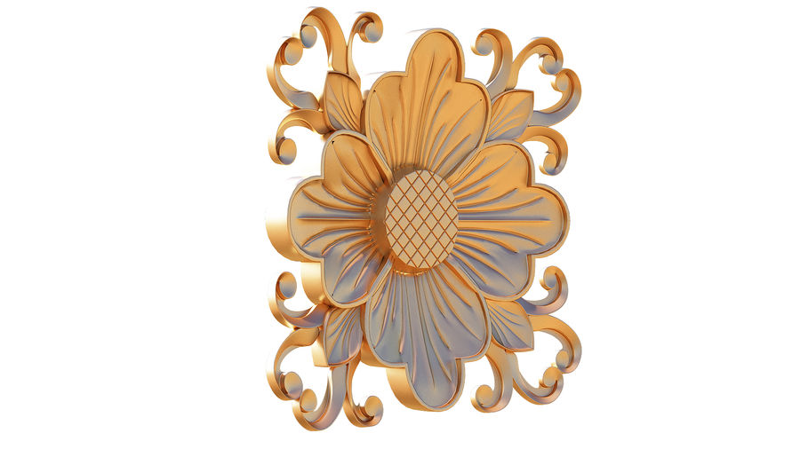 3D WOOD ENGRAVING Carving Decor royalty-free 3d model - Preview no. 1