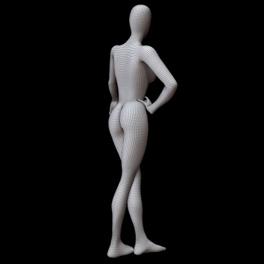 Манекен женский royalty-free 3d model - Preview no. 14
