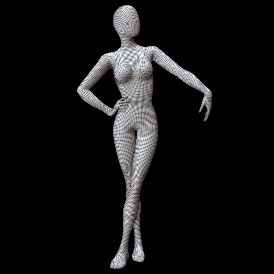 Манекен женский royalty-free 3d model - Preview no. 11