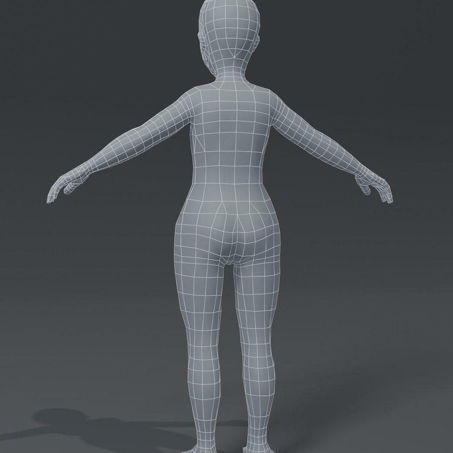 Girl Kid Child Body Base Mesh 3D Model royalty-free 3d model - Preview no. 10