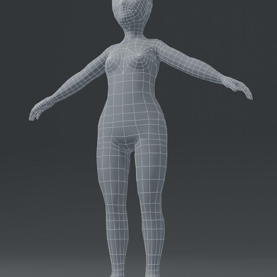 Girl Kid Child Body Base Mesh 3D Model royalty-free 3d model - Preview no. 6