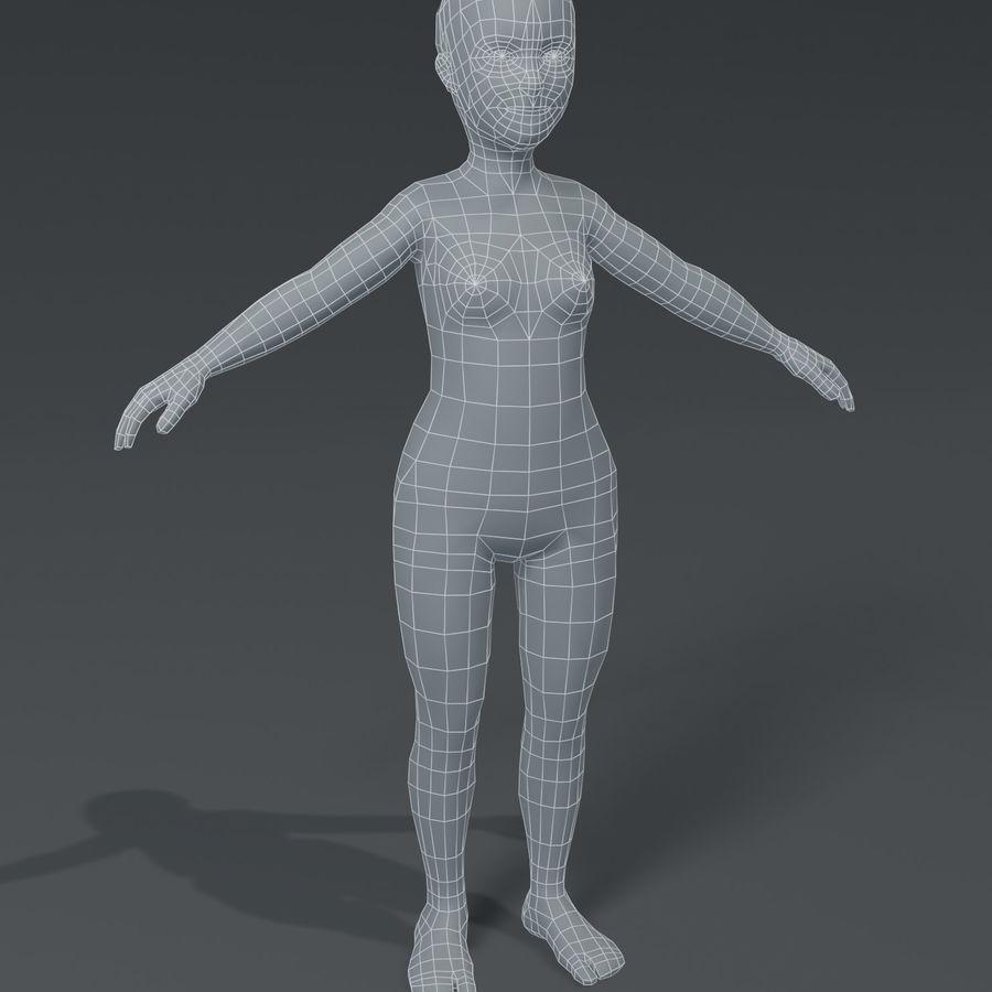 Girl Kid Child Body Base Mesh 3D Model royalty-free 3d model - Preview no. 1