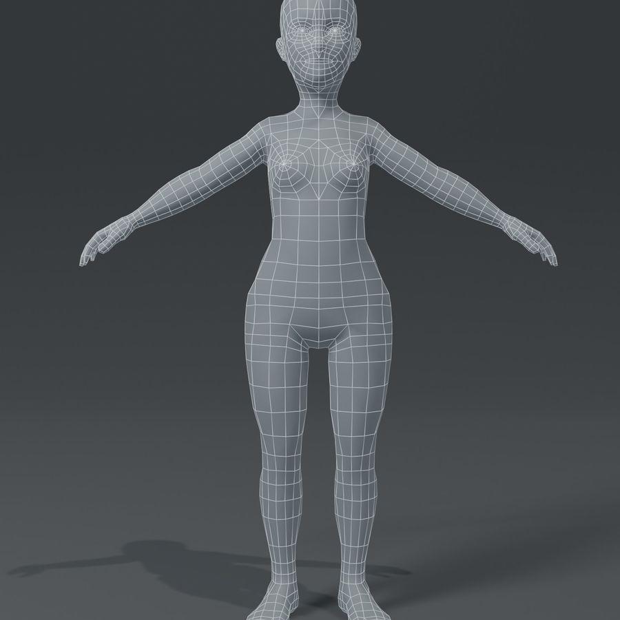 Girl Kid Child Body Base Mesh 3D Model royalty-free 3d model - Preview no. 2