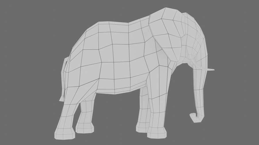 Éléphant de dessin animé royalty-free 3d model - Preview no. 9