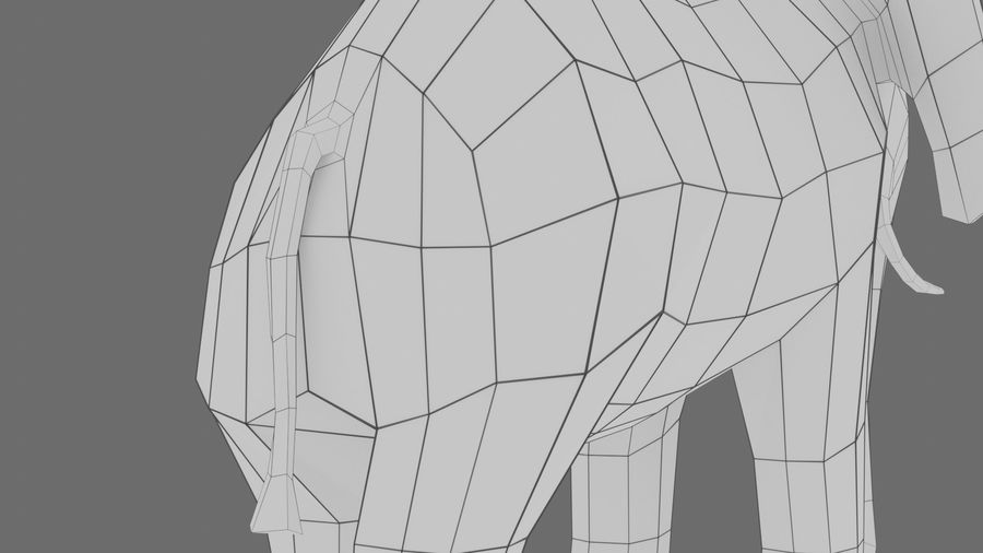 Éléphant de dessin animé royalty-free 3d model - Preview no. 11