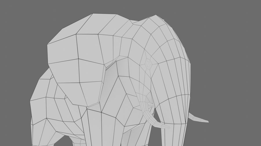 Éléphant de dessin animé royalty-free 3d model - Preview no. 10