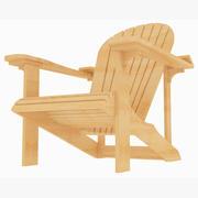 Adirondack houten stoel aan het strand (1) 3d model