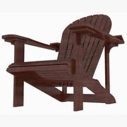 Деревянный стул Adirondack напротив пляжа 3d model