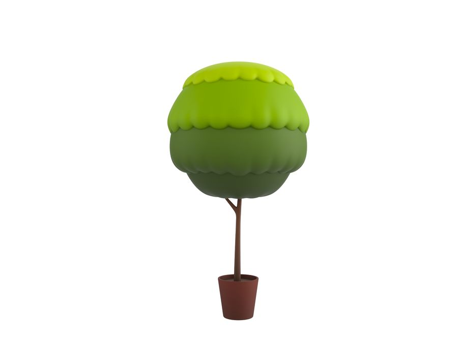 Tree In Pot royalty-free 3d model - Preview no. 2